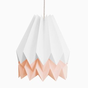 PLUS Polar White Origami Lamp with Pastel Pink Stripe by Orikomi