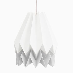 PLUS Polar White Origami Lamp with Light Grey Stripe by Orikomi