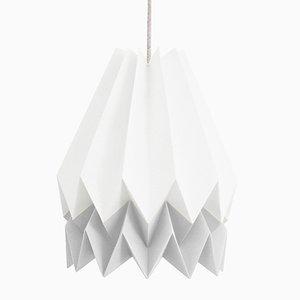 PLUS polarweiße Origami Lampe mit hellgrauem Streifen von Orikomi