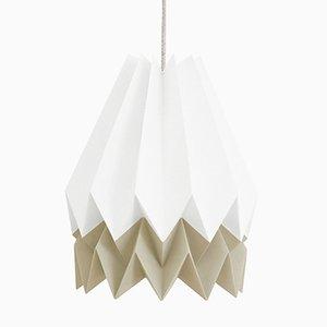 Lámpara Origami PLUS en blanco polar con franja en gris pardo claro de Orikomi