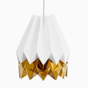 PLUS Polar White Origami Lamp with Warm Gold Stripe by Orikomi
