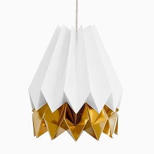 PLUS polarweiße Origami Lampe mit goldenem Streifen von Orikomi