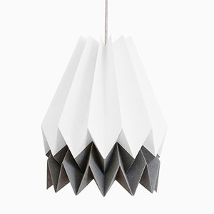 PLUS Polar White Origami Lamp with Alpine Grey Stripe by Orikomi