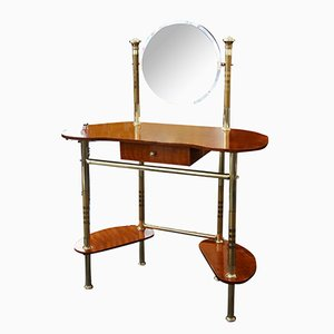 Mid-Century Italian Brass & Wood Dressing Table