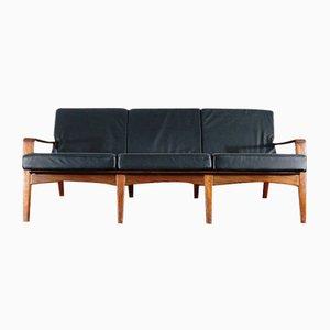 Dänisches Leder & Teak 3-Sitzer Vintage Sofa von Arne Wahl Iversen für Komfort
