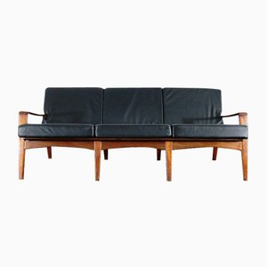 Vintage Danish Leather & Teak 3-Seater Sofa by Arne Wahl Iversen for Komfort