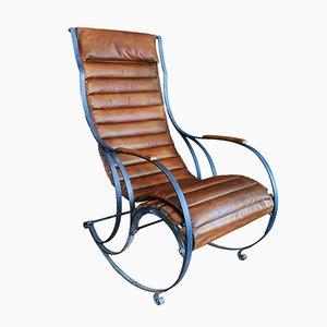 Sedia a dondolo antica in acciaio e pelle di RW Winfield
