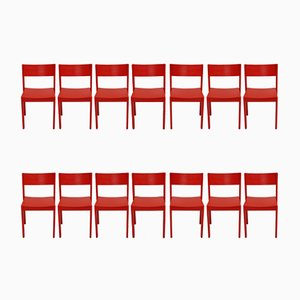 Rote Mid-Century Esszimmerstühle, 14er Set