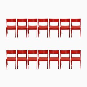 Rote Mid-Century Esszimmerstühle von E. & A. Pollack, 14er Set