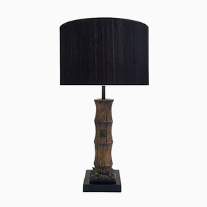 Faux Bamboo Table Lamp in Carved Wood, 1970s