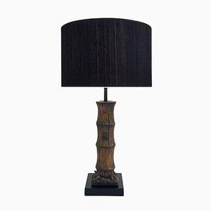 Lampada da tavolo a forma di bambù in legno intagliato, anni '70