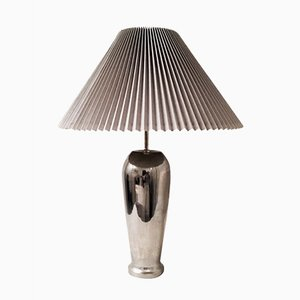 Chrome Table Lamp with Knife Pleat Hardback Shade, 1980s