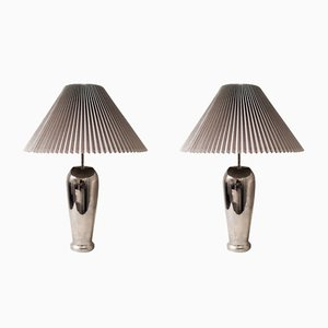 Chrome Table Lamps with Knife Pleat Hardback Shades, 1980s, Set of 2