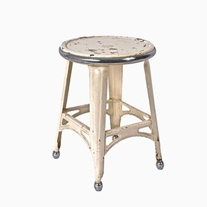 Industrial French Stool in Painted Iron and Chromed Steel, 1940s