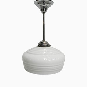 Art Deco Hanging Lamp with White Glass Sphere