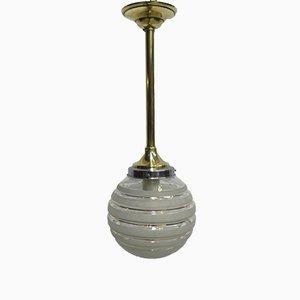 Lampe à Suspension Art Déco avec Globe en Verre & Armature en Laiton