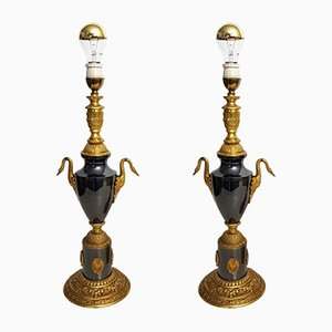 Bronze Black Table Lamps with Swans, 1960s, Set of 2