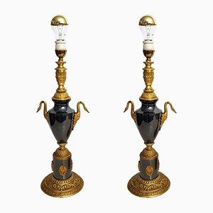Lampes de Bureau Noires en Bronze avec Cygnes, 1960s, Set de 2