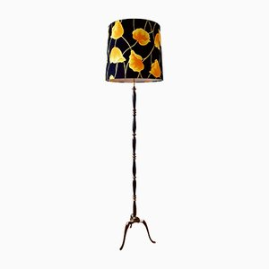 Copper Floor Lamp with Tripod and Multicolored Shade, 1950s