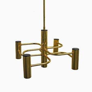 Vintage Brass Chandelier by Gaetano Sciolari for S.A. Boulanger, 1960s
