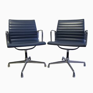 EA 108 Vinyl & Aluminum Chairs by Charles & Ray Eames for Herman MIller, 1960s, Set of 2