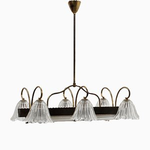 Lámpara de araña de cristal de Murano grande de Barovier & Toso, años 40