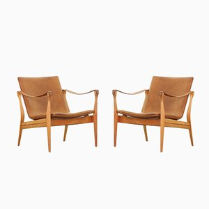 Safari Lounge Chairs by Ebbe and Karen Clemmensen for Fritz Hansen, 1958, Set of 2