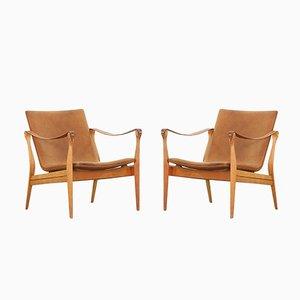 Safari Lounge Chairs by Ebbe and Karen Clemmensen for Fritz Hansen, 1958, Set of 2