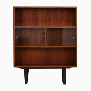 Teak Veneer Bookcase with Sliding Glass Doors from Clausen & Søn, 1960s