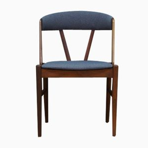 Teak Veneer & Fabric Side Chair, 1960s