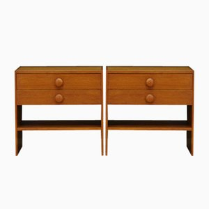 Teak Veneer Bedside Tables, 1960s, Set of 2