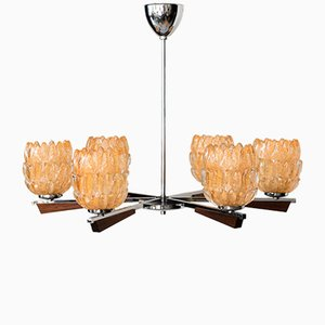 Italian Chandelier with Murano Glass Shades, 1960s