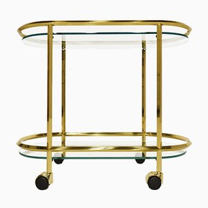Italian Oval Minimalist Brass and Glass Bar Cart, 1980s