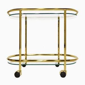 Ovaler italienischer Messing und Glas Barwagen im minimalistischen Stil, 1980er