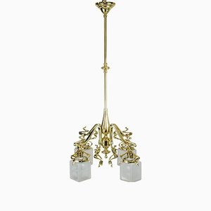 Lámpara de araña modernista floral con vidrio original, década de 1900