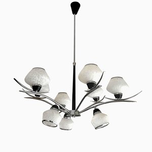 Italian Nine Glass Chandelier from Stilnovo, 1970s