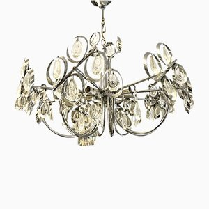 Gilded Brass & Crystal Chandelier, 1970s