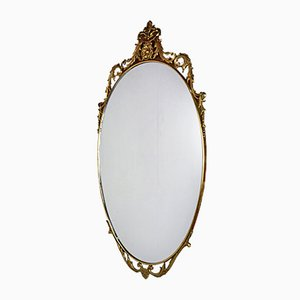 Vintage Brass Oval Mirror