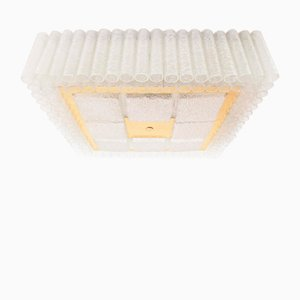Lámpara de techo grande de cristal de hielo de Doria, años 60