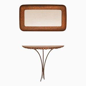 Mesa consola italiana con espejo de Angelo Bragalini, años 50
