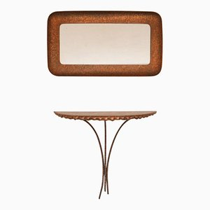 Table Console et Miroir par Angelo Bragalini, Italie, 1950s