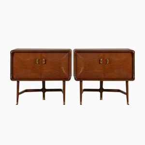 Italian Brier Veneer Nightstands with Treated Glass, 1950s, Set of 2