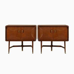 Tables de Chevet en Contreplaqué de Brier avec Verre Traité, Italie, 1950s, Set de 2