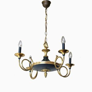 Brass Hunting Horn Chandelier from Maison Bagues, 1940s