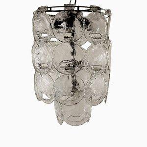 Lámpara de techo italiana vintage de metal y vidrio soplado, años 60