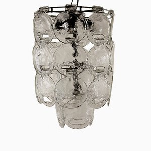 Vintage Italian Metal & Blown Glass Ceiling Lamp, 1960s
