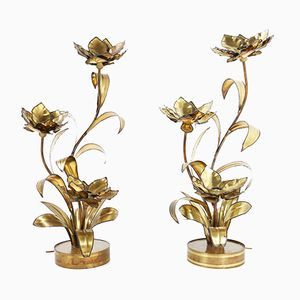 French Flower Floor Lamps by Maison Jansen, 1970s, Set of 2