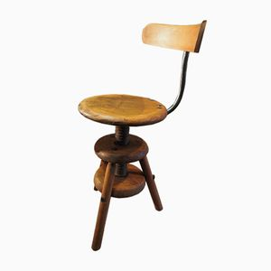 Swiss Watchmaker's Stool with Backrest, 1940s