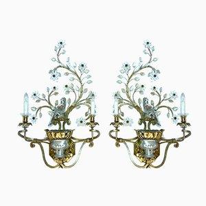 Große Italienische Vergoldete Metall und Kristallglas Wandlampen von Banci Firenze, 1960er, 2er Set
