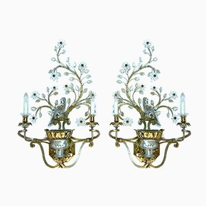 Large Gilt-Metal and Crystal Glass Sconces by Maison Baguès, 1960s, Set of 2